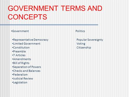 GOVERNMENT TERMS AND CONCEPTS GovernmentPolitics Representative DemocracyPopular Sovereignty Limited GovernmentVoting ConstitutionCitizenship Preamble.