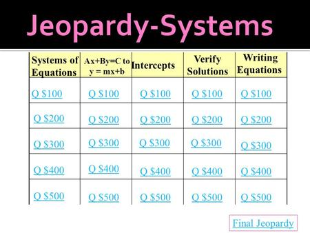 Systems of Equations Ax+By=C to y = mx+b Intercepts Verify Solutions Writing Equations Q $100 Q $200 Q $300 Q $400 Q $500 Q $100 Q $200 Q $300 Q $400 Q.