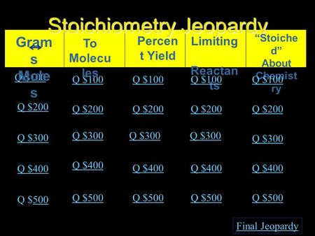 "Stoichiometry Jeopardy Percen t Yield Limiting Reactan ts ""Stoiche d"" About Chemist ry Q $100 Q $200 Q $300 Q $400 Q $500500 Q $100 Q $200 Q $300 Q $400."