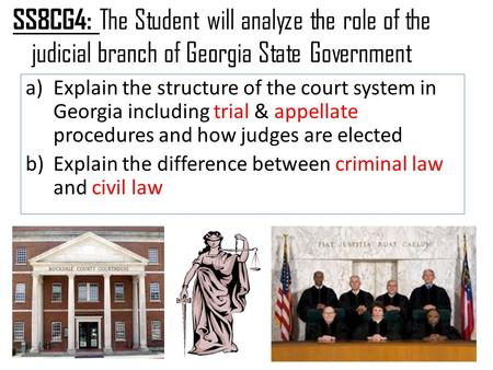 SS8CG4: The Student will analyze the role of the judicial branch of Georgia State Government a)Explain the structure of the court system in Georgia including.
