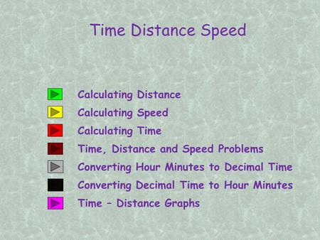 Calculating Distance Time Distance Speed Calculating Speed Calculating Time Converting Hour Minutes to Decimal Time Time, Distance and Speed Problems Converting.