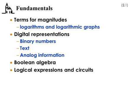 (2.1) Fundamentals  Terms for magnitudes – logarithms and logarithmic graphs  Digital representations – Binary numbers – Text – Analog information 