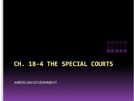 AMERICAN GOVERNMENT. The federal court system is made up of two quite distinct types of courts 1) constitutional, or regular courts 2) special courts.