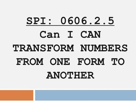 SPI: Can I CAN TRANSFORM NUMBERS FROM ONE FORM TO ANOTHER