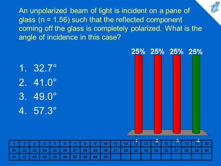 An unpolarized beam of light is incident on a pane of glass (n = 1.56) such that the reflected component coming off the glass is completely polarized.