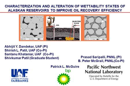 CHARACTERIZATION AND ALTERATION OF WETTABILITY STATES OF ALASKAN RESERVOIRS TO IMPROVE OIL RECOVERY EFFICIENCY Prasad Saripalli, PNNL (PI) B. Peter McGrail,