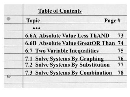 Table of Contents Topic Page #... 6.6A Absolute Value Less ThAND 73 6.6B Absolute Value GreatOR Than 74 6.7 Two Variable Inequalities 75 7.1 Solve Systems.