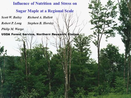 Influence of Nutrition and Stress on Sugar Maple at a Regional Scale Scott W. BaileyRichard A. Hallett Robert P. Long Stephen B. Horsley Philip M. Wargo.