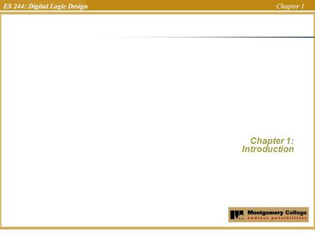 ES 244: Digital Logic Design Chapter 1 Chapter 1: Introduction Uchechukwu Ofoegbu Temple University.