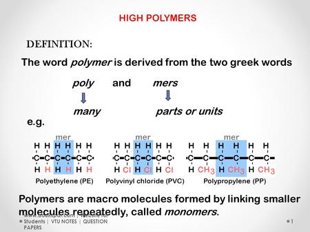 DEFINITION: The word polymer is derived from the two greek words polyandmers Polymers are macro molecules formed by linking smaller molecules repeatedly,