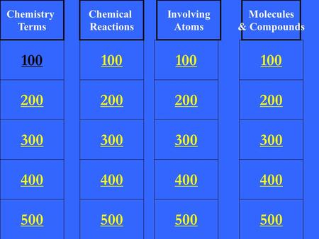 200 300 400 500 100 200 300 400 500 100 200 300 400 500 100 200 300 400 500 100 Chemistry Terms Chemical Reactions Involving Atoms Molecules & Compounds.