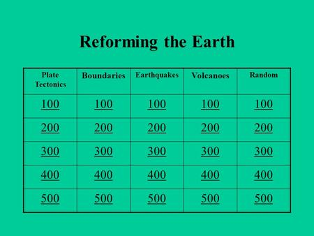 Reforming the Earth Plate Tectonics Boundaries Earthquakes Volcanoes Random 100 200 300 400 500.
