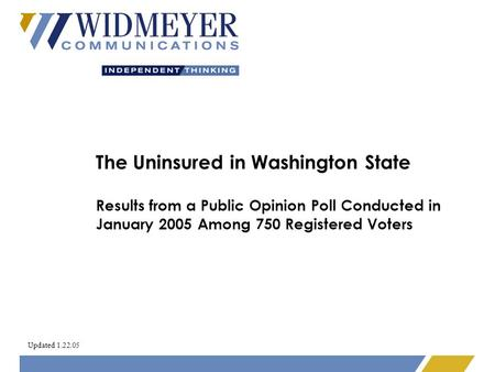 The Uninsured in Washington State Results from a Public Opinion Poll Conducted in January 2005 Among 750 Registered Voters Updated 1.22.05.