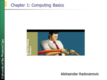 University of the Western Cape Chapter 1: Computing Basics Aleksandar Radovanovic.