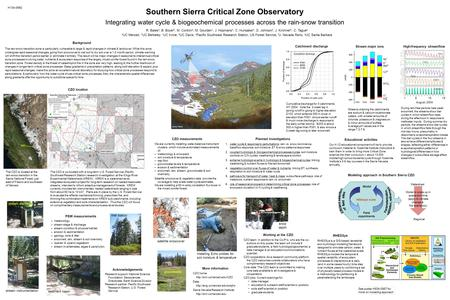 Southern Sierra Critical Zone Observatory Integrating water cycle & biogeochemical processes across the rain-snow transition R. Bales a, B. Boyer b, M.