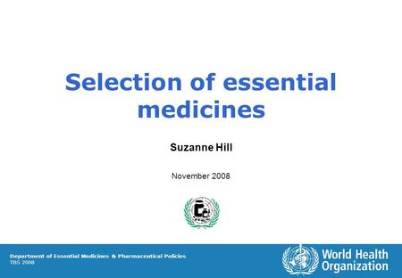 Selection of essential medicines