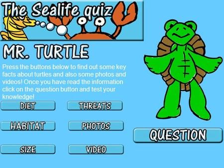 Press the buttons below to find out some key facts about turtles and also some photos and videos! Once you have read the information click on the question.
