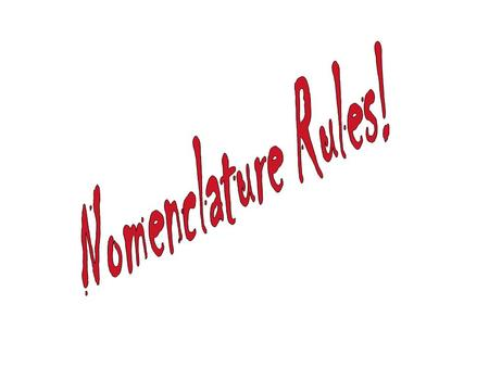 Nomeclature One name for each substance, one substance for each (valid) name.