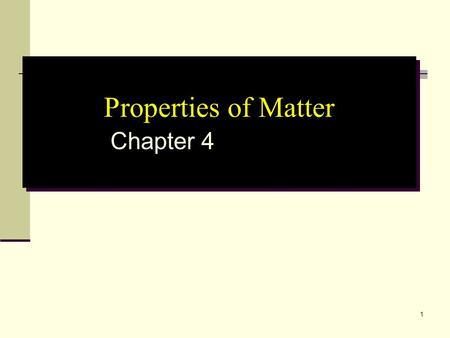 1 Properties of Matter Chapter 4. 2 Chapter 4 - Properties of Matter 4.1 Properties of SubstancesProperties of Substances 4.2 Physical ChangesPhysical.