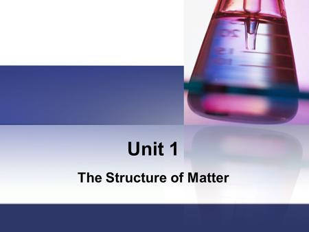 Unit 1 The Structure of Matter Units of Measurement SI Units Physical QuantityUnit NameSymbol lengthmeterm masskilogramkg timeseconds electric currentampereA.
