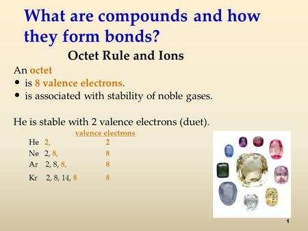 What are compounds and how they form bonds? Octet Rule and Ions An octet is 8 valence electrons. is associated with stability of noble gases. He is stable.
