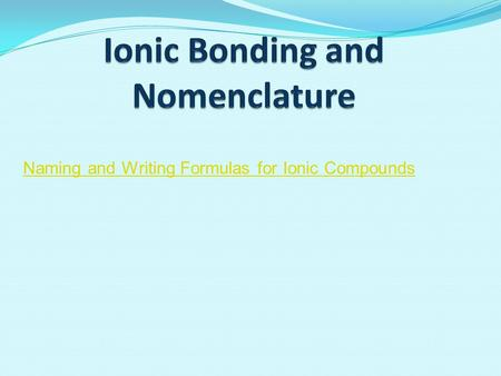 Naming and Writing Formulas for Ionic Compounds. Objectives 1.Name and write the symbols for common anions, cations, and polyatomic ions. 2.Determine.
