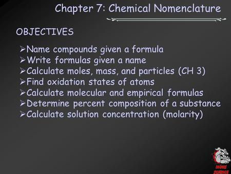 Chapter 7: Chemical Nomenclature