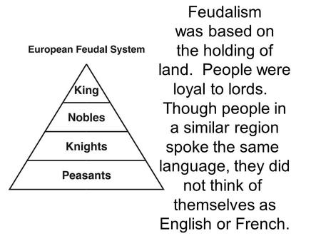 Feudalism was based on the holding of land. People were loyal to lords. Though people in a similar region spoke the same language, they did not think of.