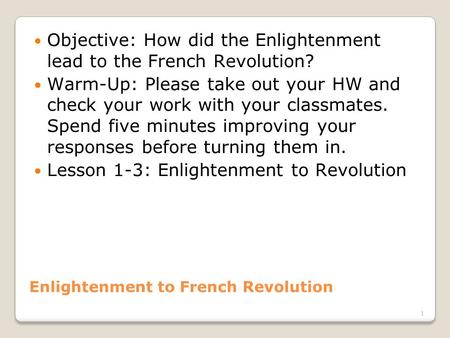 Enlightenment to French Revolution