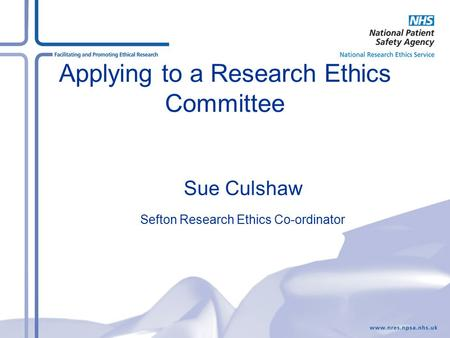 Applying to a Research Ethics Committee