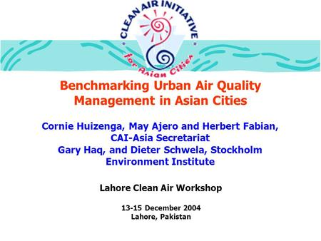 Benchmarking Urban Air Quality Management in Asian Cities