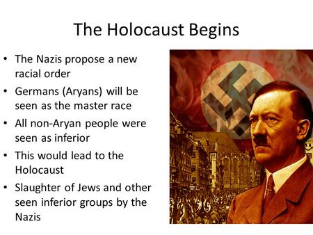 The Holocaust Begins The Nazis propose a new racial order