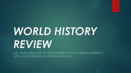 world hitory exam notes