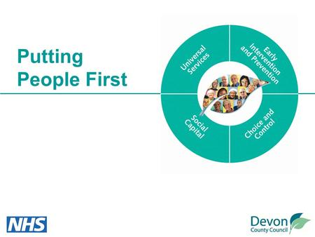 Putting People First. Devon's vision… Our Putting People First overall vision… Our aim is to build strong communities in which everyone can play an active.