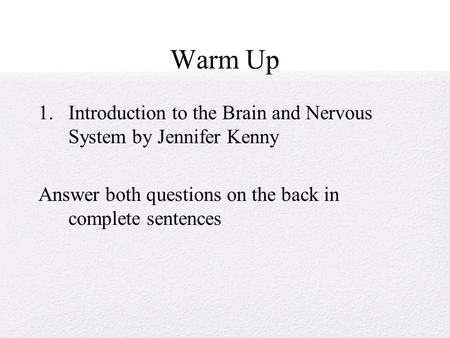 Warm Up Introduction to the Brain and Nervous System by Jennifer Kenny