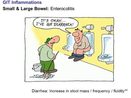 GIT Inflammations Small & Large Bowel: Enterocolitis Diarrhea: Increase in stool mass / frequency / fluidity**