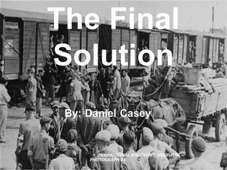 The Final Solution By: Daniel Casey Picture: FINAL SOLUTION: OVERVIEW — PHOTOGRAPH #1.