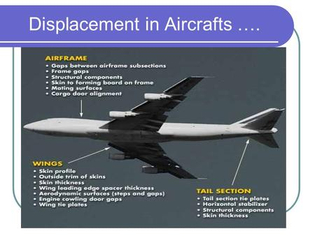 Displacement in Aircrafts ….. Aircraft ….  Blade tip gap measurement of compressor and turbine stage for concentricity  Fan Blade clearance measurement.