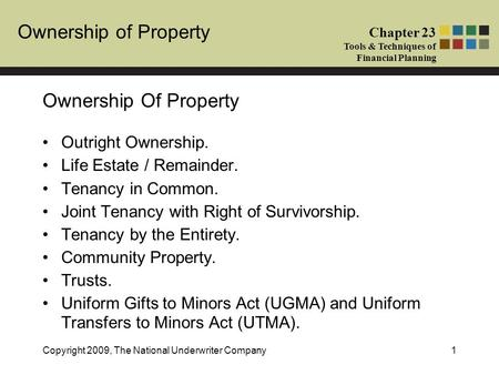 Ownership of Property Chapter 23 Tools & Techniques of Financial Planning Copyright 2009, The National Underwriter Company1 Ownership Of Property Outright.