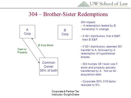 Corporate & Partner Tax Instructor: Dwight Drake 304 – Brother-Sister Redemptions A Corp B Corp Common Owner 50% of both B Corp Stock Cash or Property.