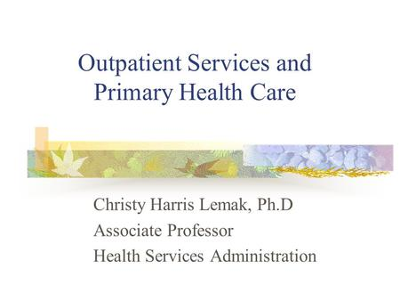 Outpatient Services and Primary Health Care Christy Harris Lemak, Ph.D Associate Professor Health Services Administration.