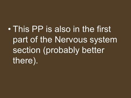 This PP is also in the first part of the Nervous system section (probably better there).