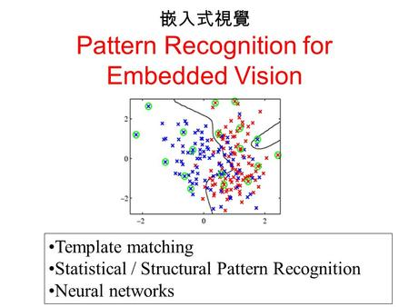 嵌入式視覺 Pattern Recognition for Embedded Vision Template matching Statistical / Structural Pattern Recognition Neural networks.