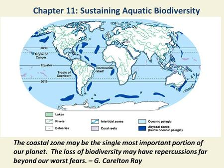 Chapter 11: Sustaining Aquatic Biodiversity The coastal zone may be the single most important portion of our planet. The loss of biodiversity may have.