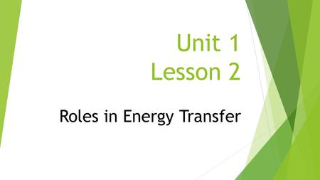 Roles in Energy Transfer