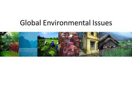 Global Environmental Issues. Global Warming – Greenhouse Effect Water Pollution – Eutrophication Acid Rain Deforestation Habitat loss Over exploitation.