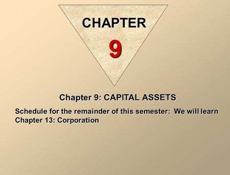Chapter 9: CAPITAL ASSETS Schedule for the remainder of this semester: We will learn Chapter 13: Corporation CHAPTER 9.