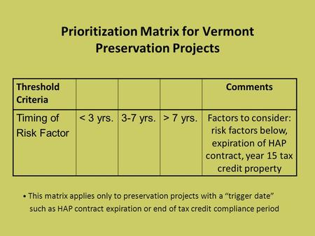 Prioritization Matrix for Vermont Preservation Projects Threshold Criteria Comments Timing of Risk Factor < 3 yrs.3-7 yrs.> 7 yrs. Factors to consider: