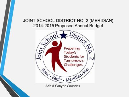 JOINT SCHOOL DISTRICT NO. 2 (MERIDIAN) 2014-2015 Proposed Annual Budget Ada & Canyon Counties.