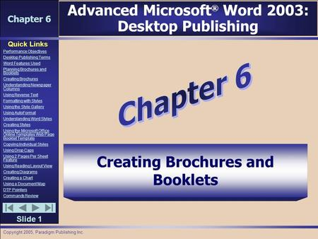 Chapter 6 Quick Links Slide 1 Performance Objectives Desktop Publishing Terms Word Features Used Planning Brochures and Booklets Creating Brochures Understanding.